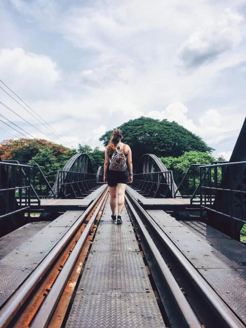 Walking the Bridge on the River Kwai Kanchanaburi Thailand Death Railway