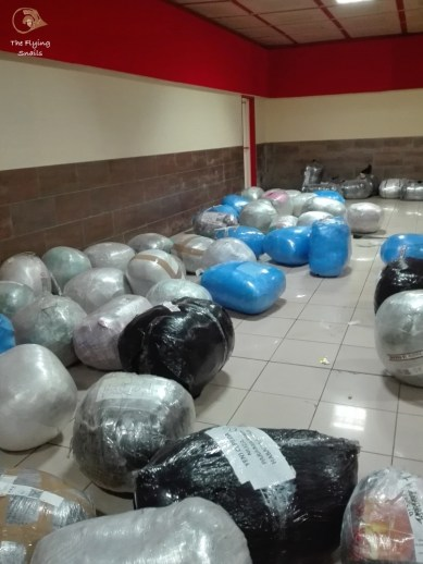 Plastic-wrapped round packages landing in Havana