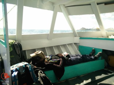 having a nap on the way to the island
