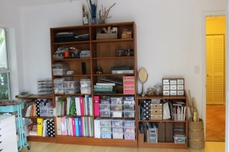 My wall of bookcases. Need to add art on walls.