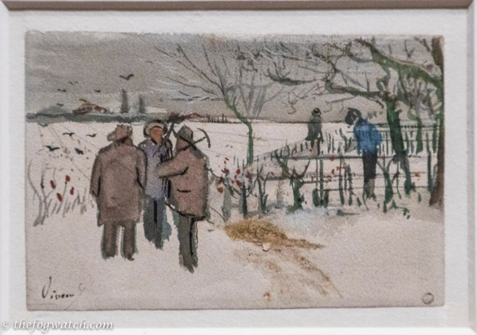 Sketch of miners in the snow