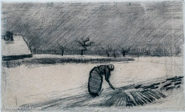 Woman with a fork in a Winter landscape