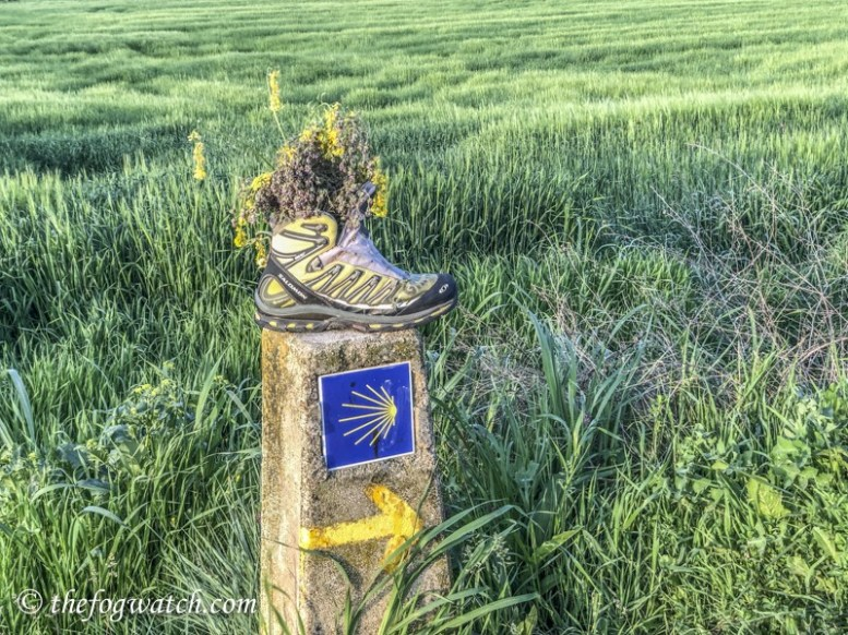 boot on Camino marker