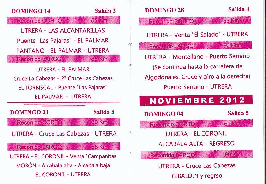 Calendario Salidas Peña Ciclista de Utrera (3/6)
