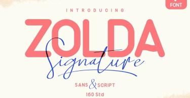 Zolda Script + Sans Family [7 Fonts]