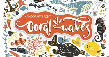 Coral Waves - Fonts and Clip Arts [2 Fonts & Extras]