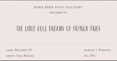 Rare Bird Specimen IV Super Family [1 Font]