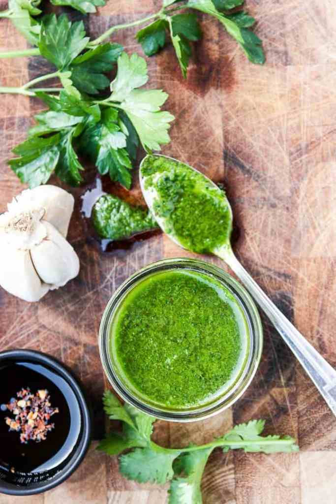 Chimichurri Sauce with Garlic, Parsley and Cilantro