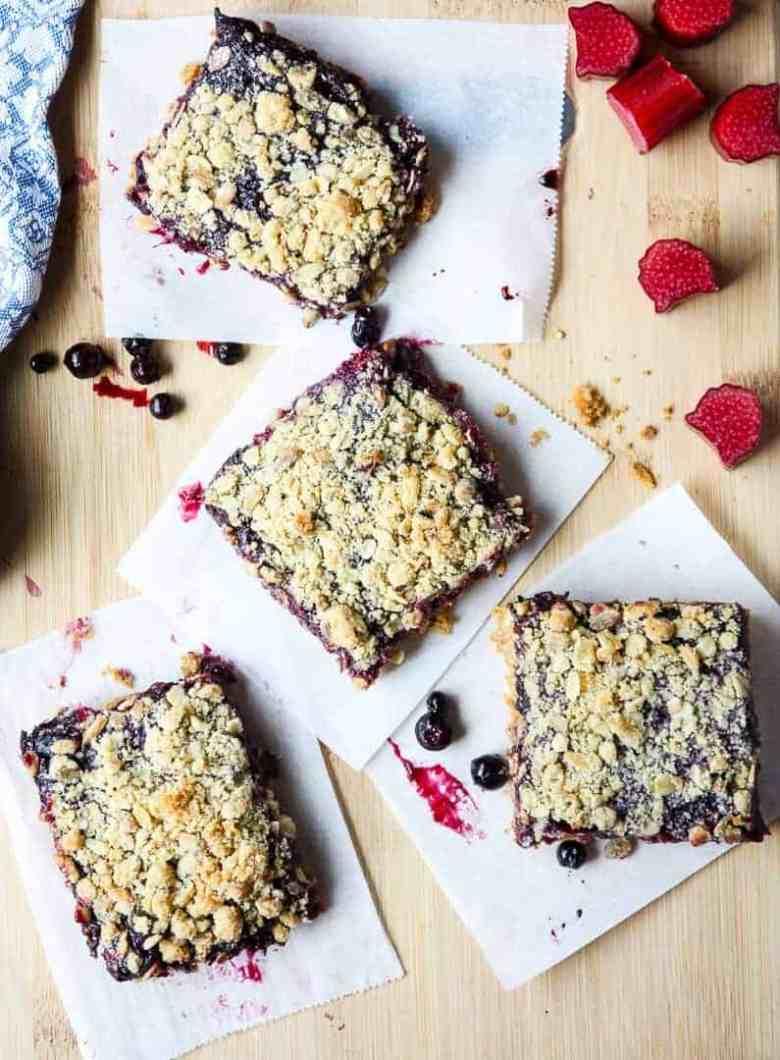 Blueberry Rhubarb Oatmeal Bars