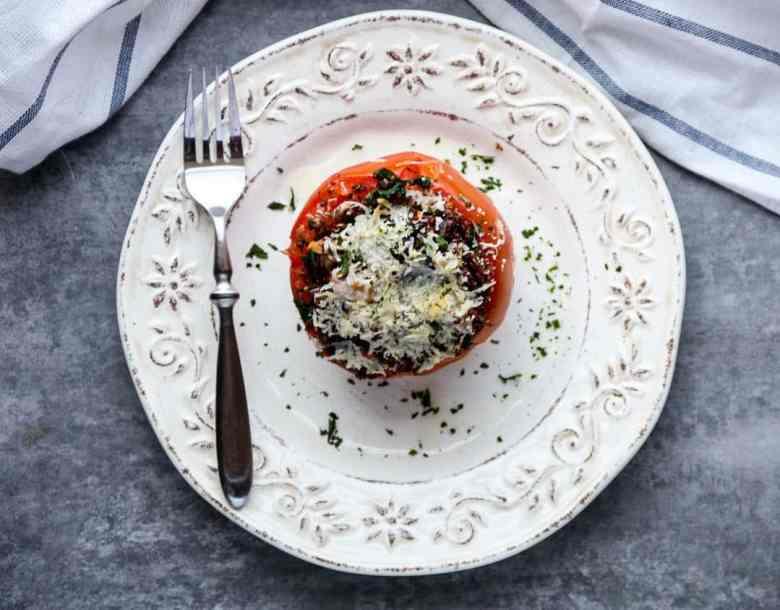 Kale and Quinoa Stuffed Tomatoes