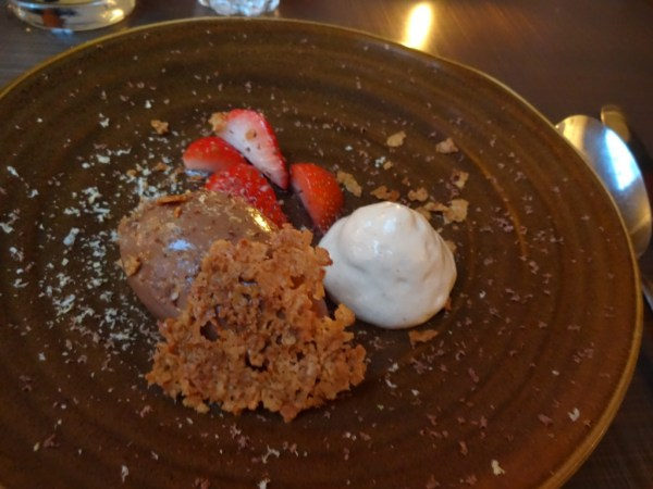chocolate mousse, summer strawberries, peanut butter cream and honeycomb