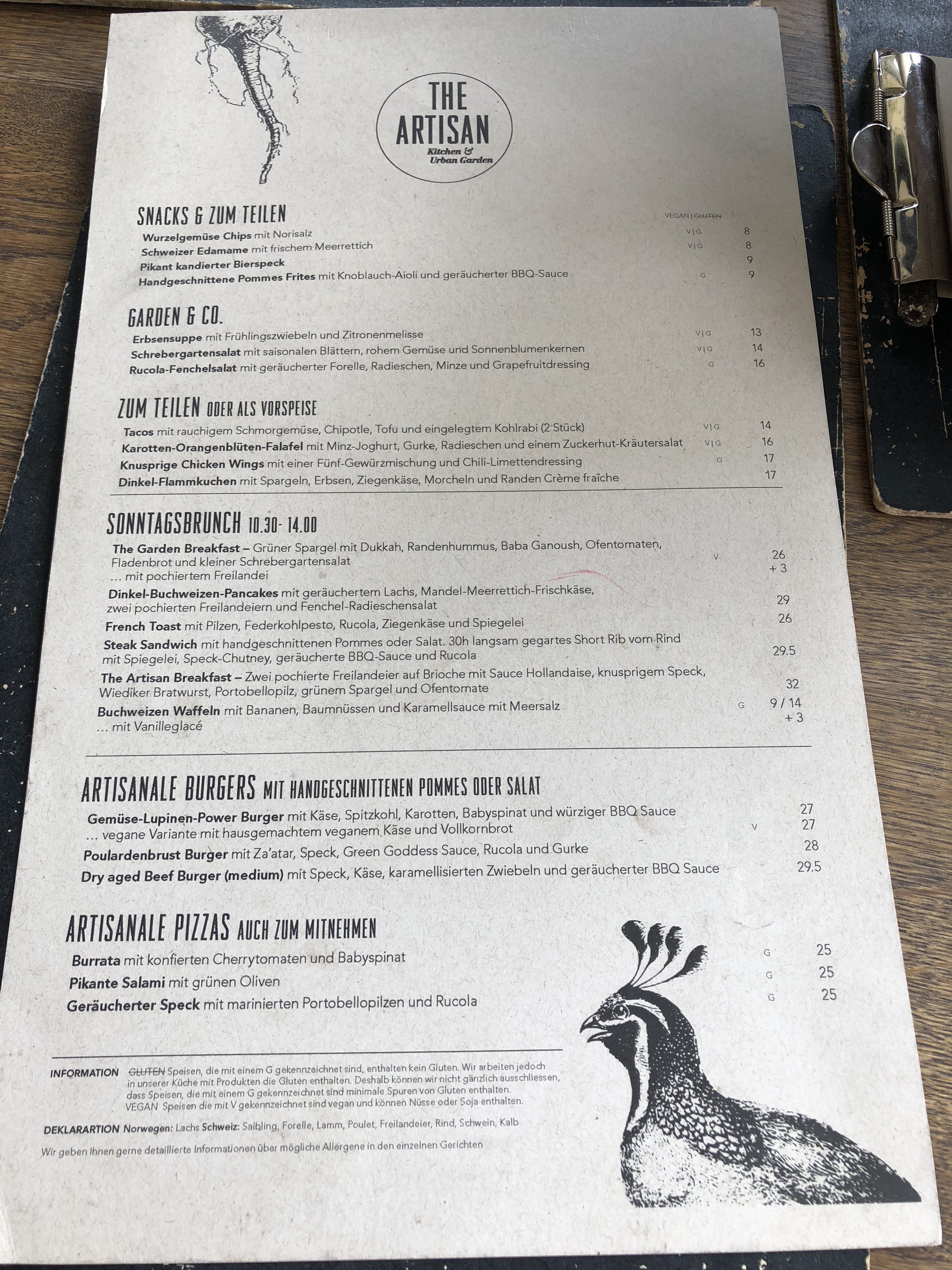 The Artisan Zurich Menu