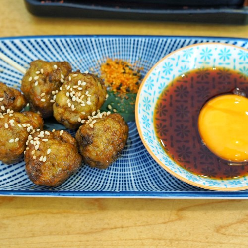 tsukune-skewers and clarence egg