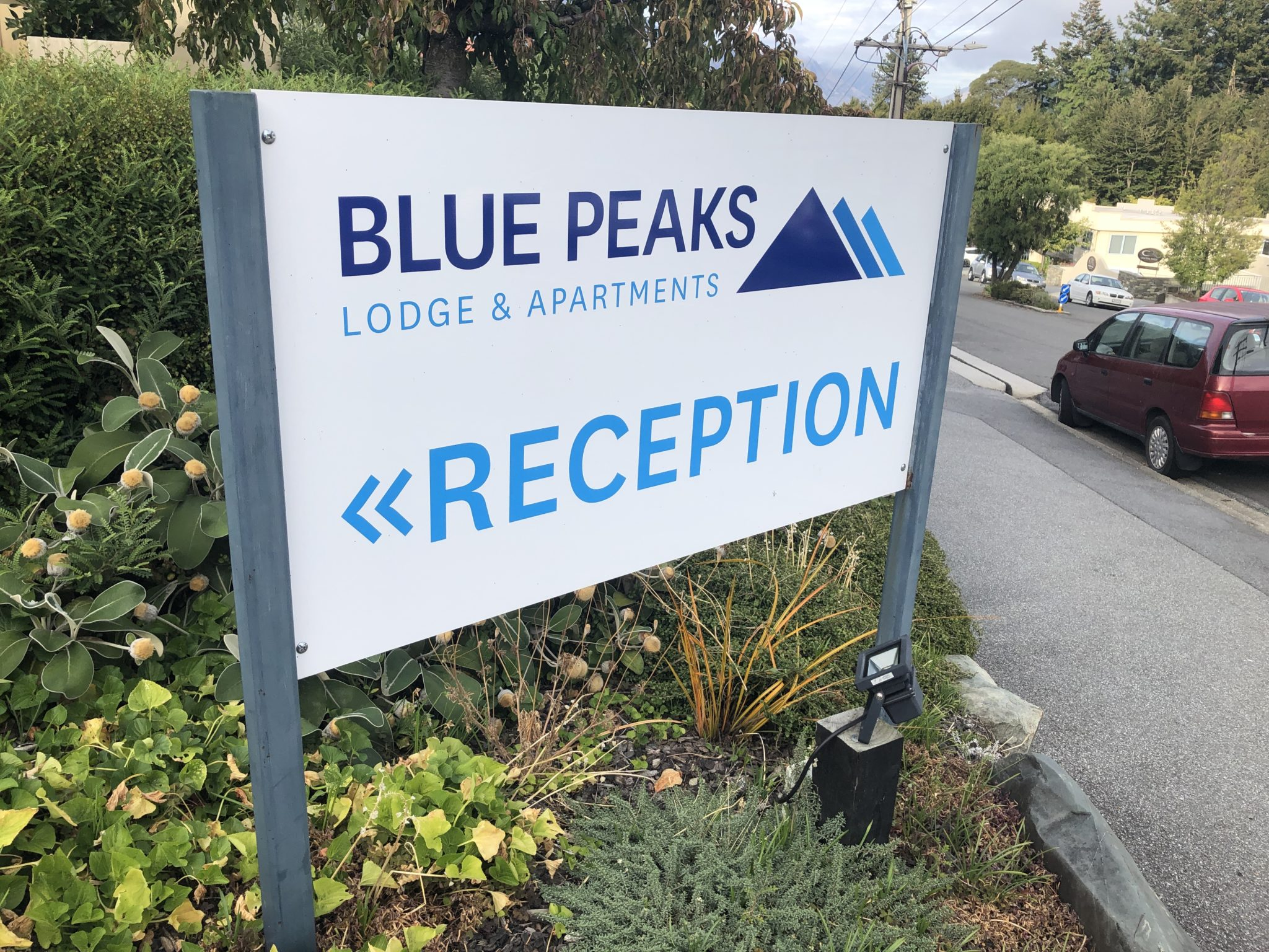 Blue Peaks apartments Sign