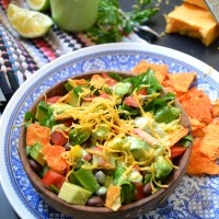 Southwestern salad with parsley lime dressing