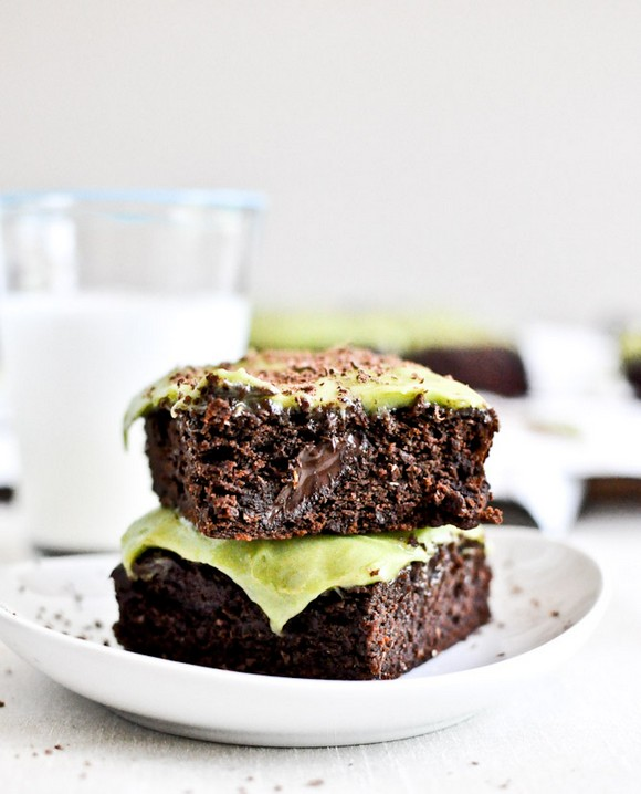 Avocado Brownies with Avocado Frosting recipe by How Sweet It Is