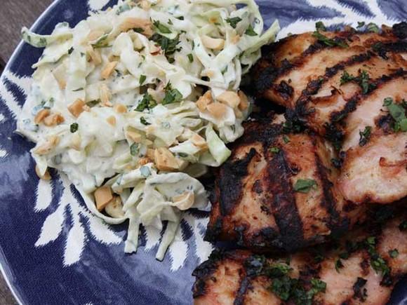 Chicken Satay with Peanut Cilantro Coleslaw recipe