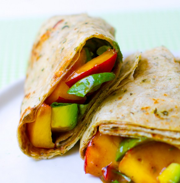 Peach Basil Avocado Balsamic Wrap recipe by Healthy Happy Life