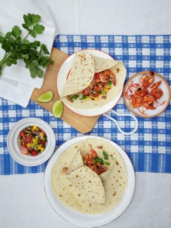 Shrimp Tortillas with Mango Salad recipe