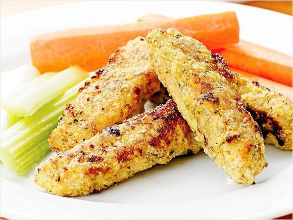 Turkey Fingers with Maple-Mustard Sauce recipe