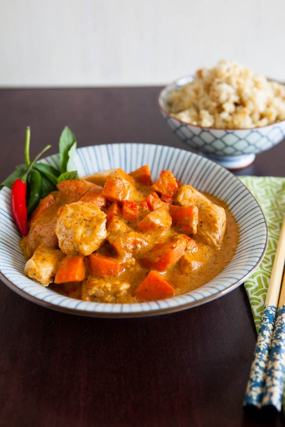 Panang Curry with Coconut Cauliflower Rice recipe by Jennifer Chong