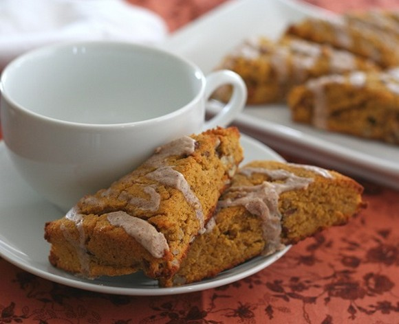 Low Carb Pumpkin Scones with Cinnamon Glaze recipe photo