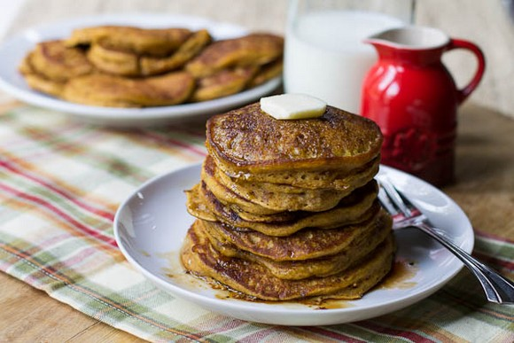 Pumpkin Pancakes with Bourbon Vanilla Maple Syrup recipe photo