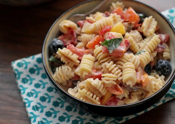 Heirloom Tomato Pasta Salad with Ricotta Salata Cream Sauce recipe photo