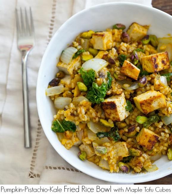 Pumpkin-Pistachio Kale Fried Rice Bowl with Maple Tofu Cubes recipe photo