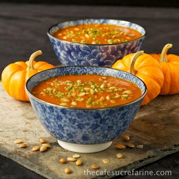 Southwestern Pumpkin & Roasted Red Pepper Soup recipe photo