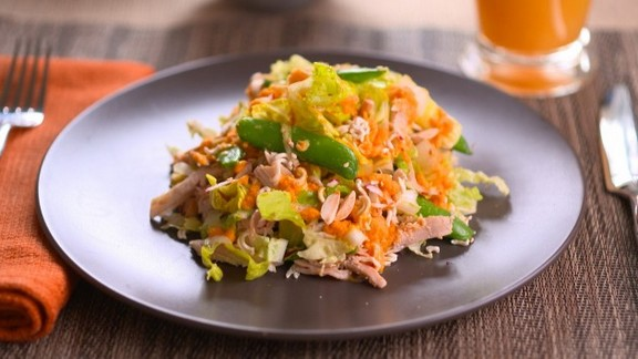 Asian Chicken Salad with Carrot Ginger Sauce recipe
