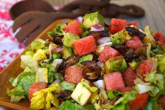 Balsamic Glazed Watermelon-Avocado Chopped Salad recipe
