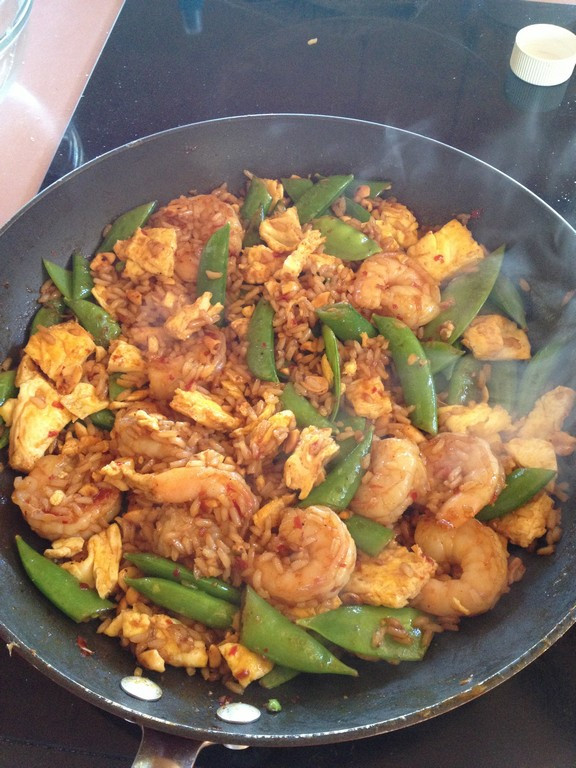 Cooking Light's Quick Fried Brown Rice with Shrimp and Snap Peas recipe photo