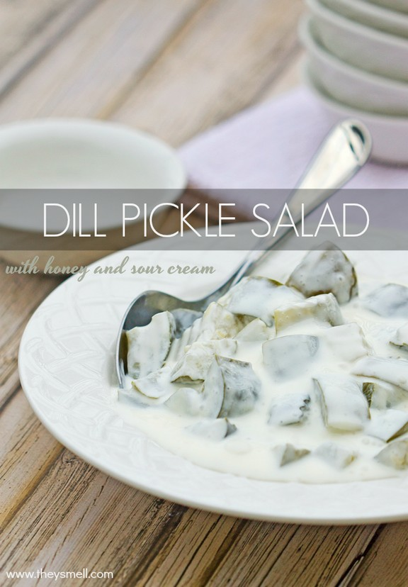 Dill Pickle Salad with Sour Cream & Honey recipe