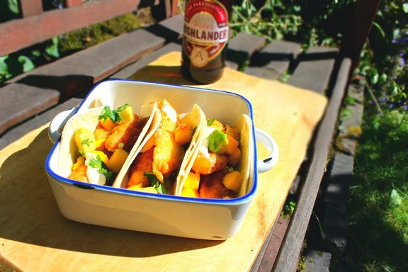 Highland Battered Fish Tacos with Chilli and Mango Salsa recipe