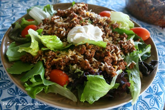 Layered Taco Salad with Crockpot Taco Beef recipe photo