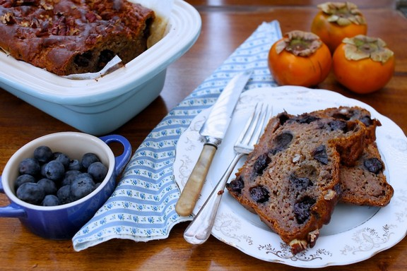Persimmon, Pecan and Blueberry Bread recipe