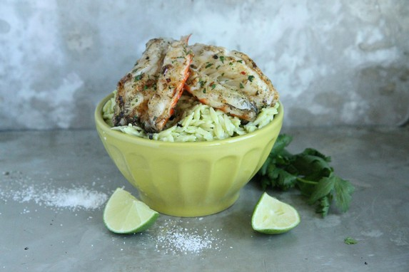 Avocado Orzo with Garlicky Grilled Prawns