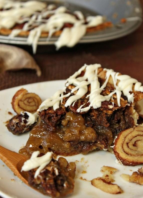 Cinnamon Bun Pecan Pie Recipe by Oh Nuts Blog