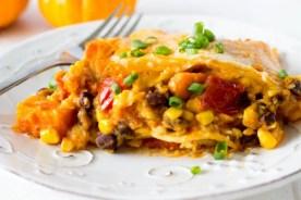 Crockpot Black Bean and Sweet Potato Enchiladas recipe