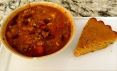 Crockpot Chili and Pumpkin Cornbread recipe