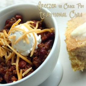 Freezer to Crock Pot Traditional Chili recipe