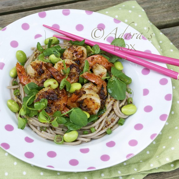 Grilled Prawns, Pea Shoot and Noodle Salad