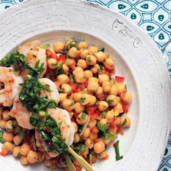 Grilled Prawns with Chickpea Salad