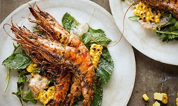 Grilled Prawns with Herb Salad and Tamarind Dressing