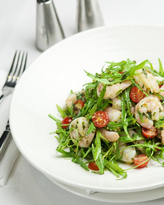 Grilled Prawns with Salsa Verde, Rocket and Cherry Tomatoes