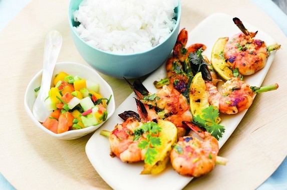 Grilled Prawns with Tropical Fruit Salsa