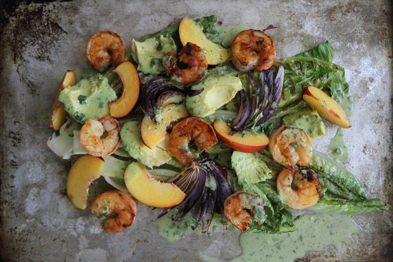 Grilled Romaine, Prawn, Avocado and Nectarine Salad with Jalapeno Honey Vinaigrette