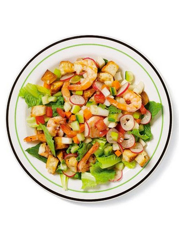 Summer Chopped Salad with Grilled Prawns