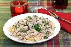 Tender Crockpot Beef with Stroganoff Sauce recipe